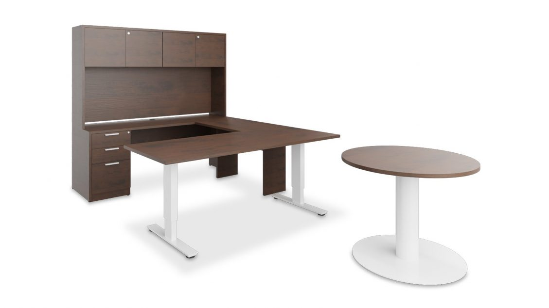 Typical u-shape office furniture: Height adjustable desk, hutch with mixed storage and a meeting table