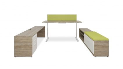 Typical Height Adjustable Desk with Screen, Table, Pedestal and Mixed Storage 2395