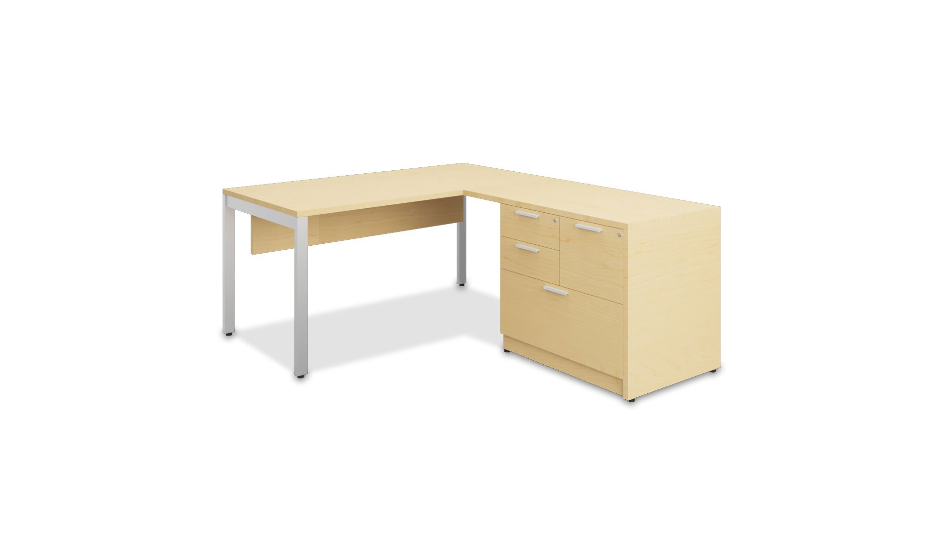 Typical L-Shaped Desk with Mixed Storage and Modesty Panel