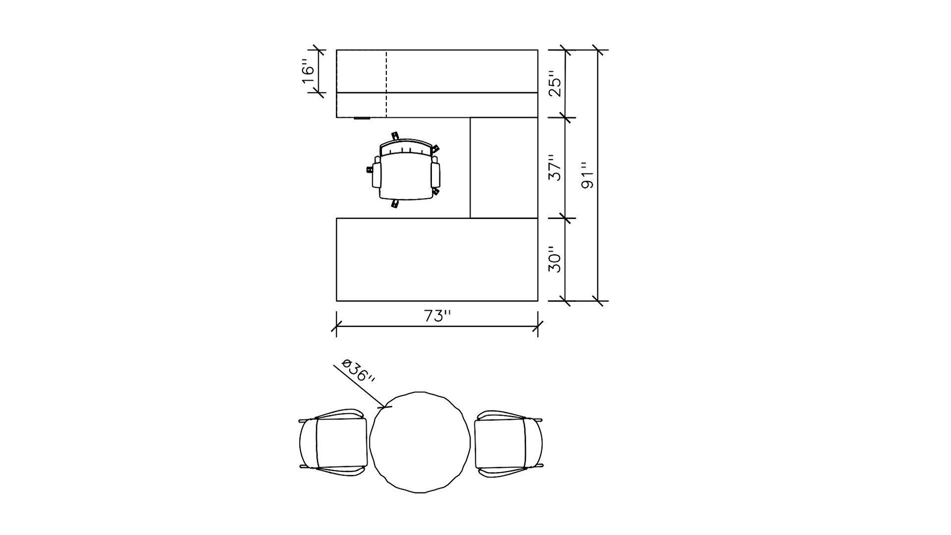 Dimensions of Hutch U-Desk Private Office 2396