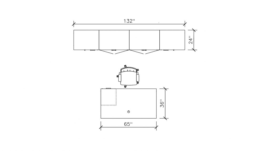 Dimensions of Private Office: Laminate Desk with Cabinet 2402