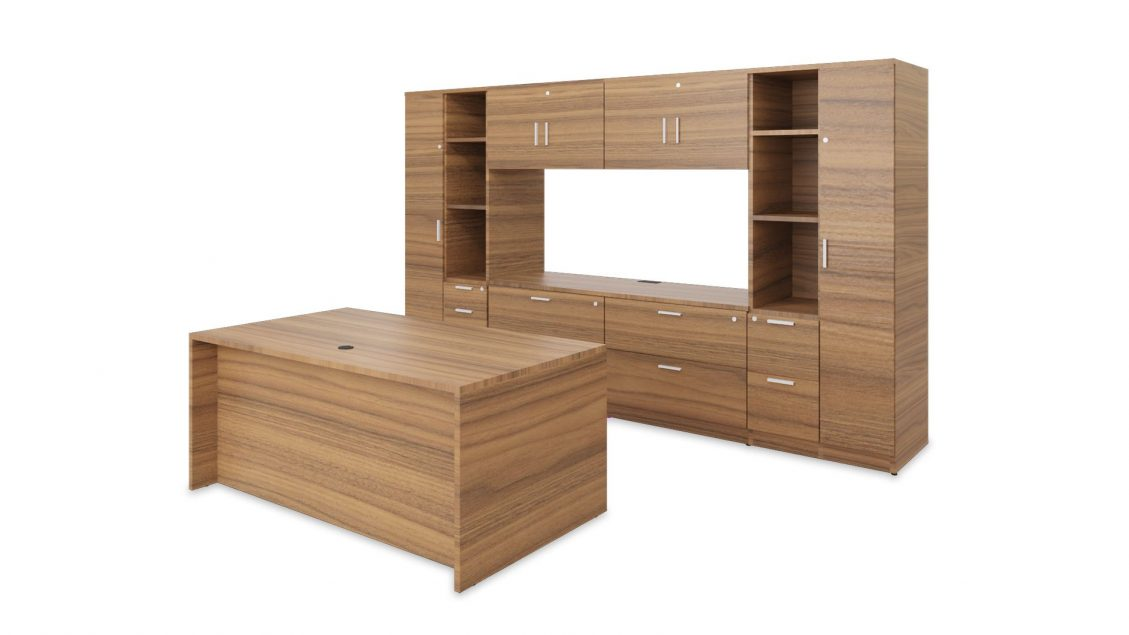Private Office: Laminate Desk with Cabinet 2402 on the white background