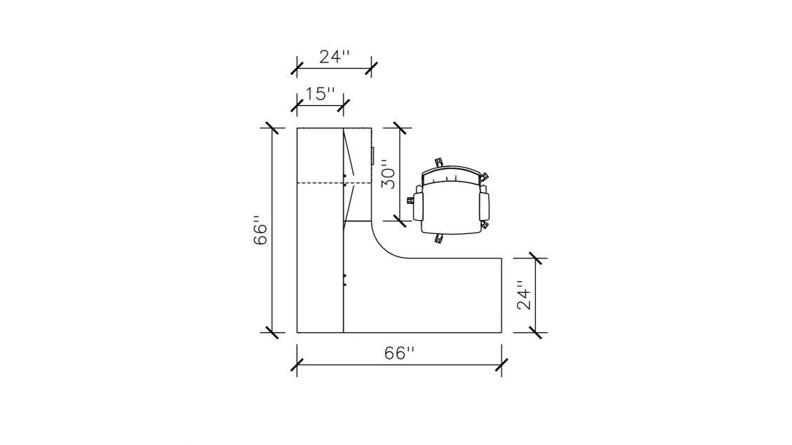 Dimensions of Hutch L-Desk 2420