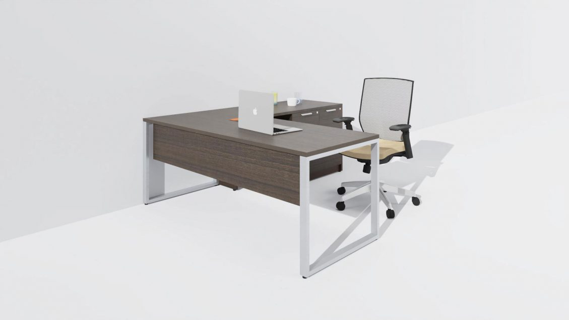 Typical L-Desk with O-Leg and Mixed Storage 958