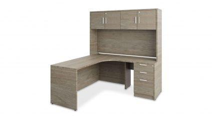 Hutch L-Desk 2420 in blackwood