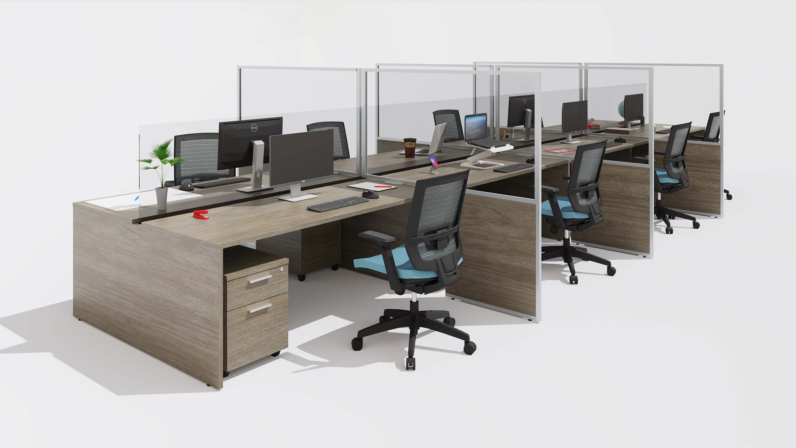 Side Shield scene with Benching in an office