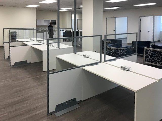 Side Shield installed on Benching desks