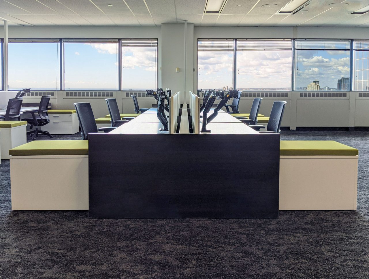 Benching with Sit-Stand Desks, Mixed Storage, Screens and Office Chairs