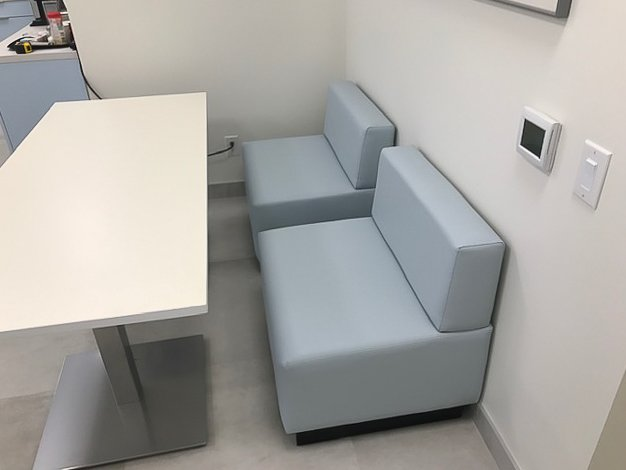 Custom Upholstered Chair in the break room