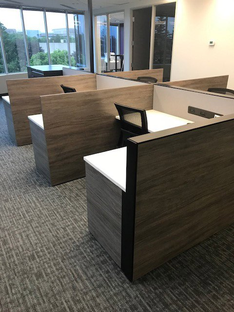 Stations: L-Desk with Mixed Storage, Screen, integrated power/data raceway and Office Chair