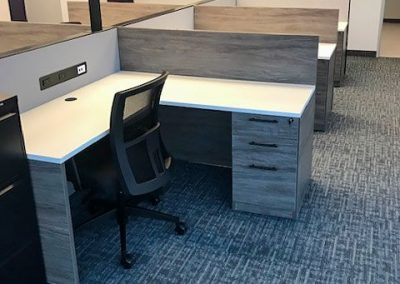 Stations: L-Desk with Mixed Storage, Screen and Office Chair