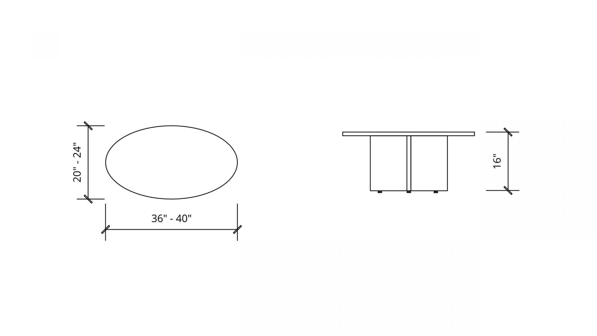 Imperial Dimensions of Oval Coffee Table 1619