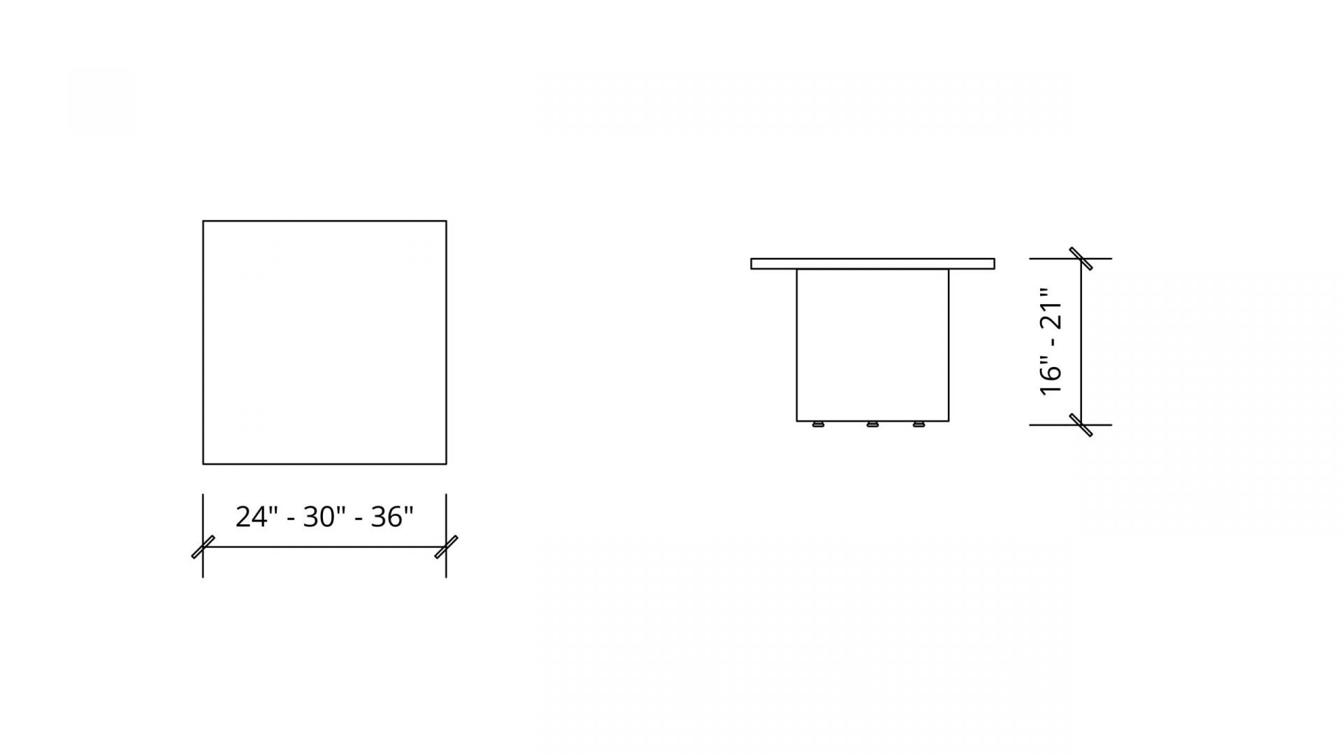Imperial Dimensions of the Square Coffee Table 1648