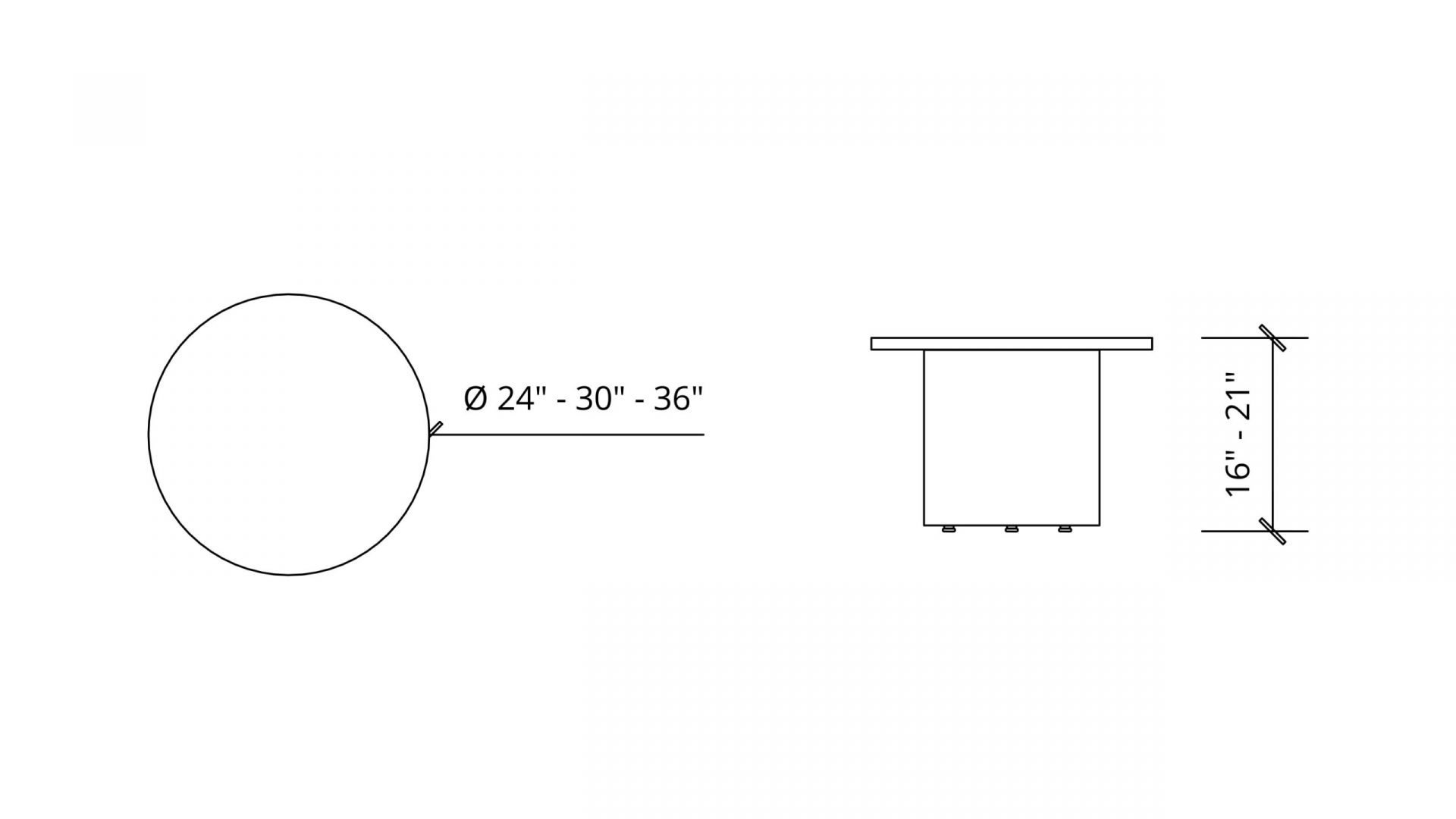 Dimensions of Round Coffee Table with X-Base 1641
