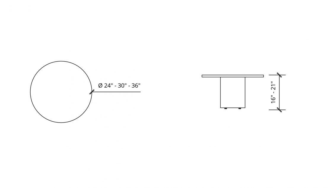 Imperial Dimensions of Round Coffee Table 1649
