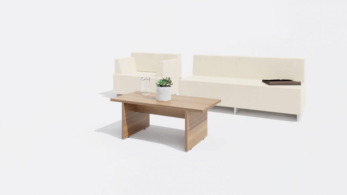 Rectangular Coffee Table 1651 with Sofa and a Chair