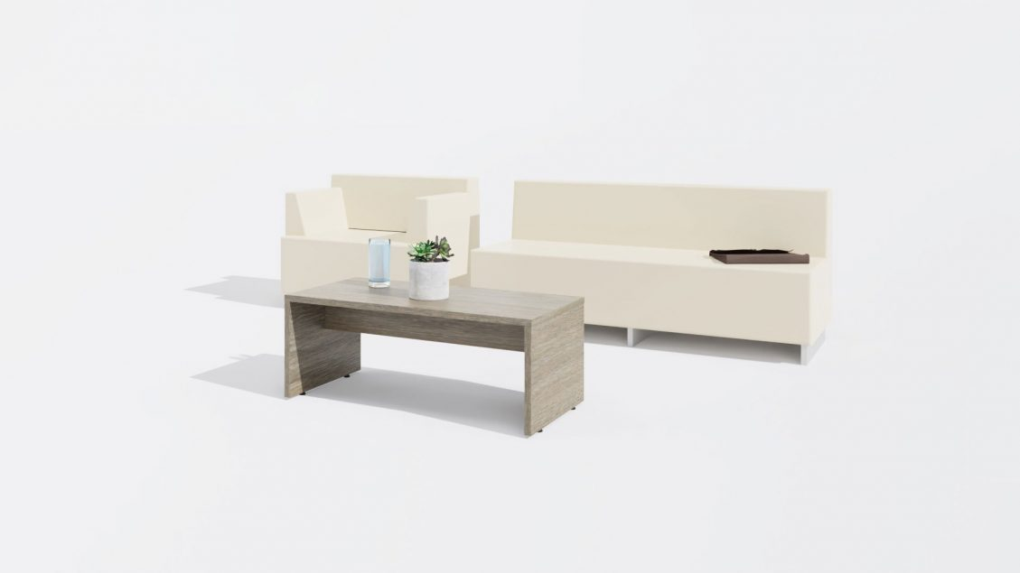 Rectangular Coffee Table 1653 with a Sofa and a Chair