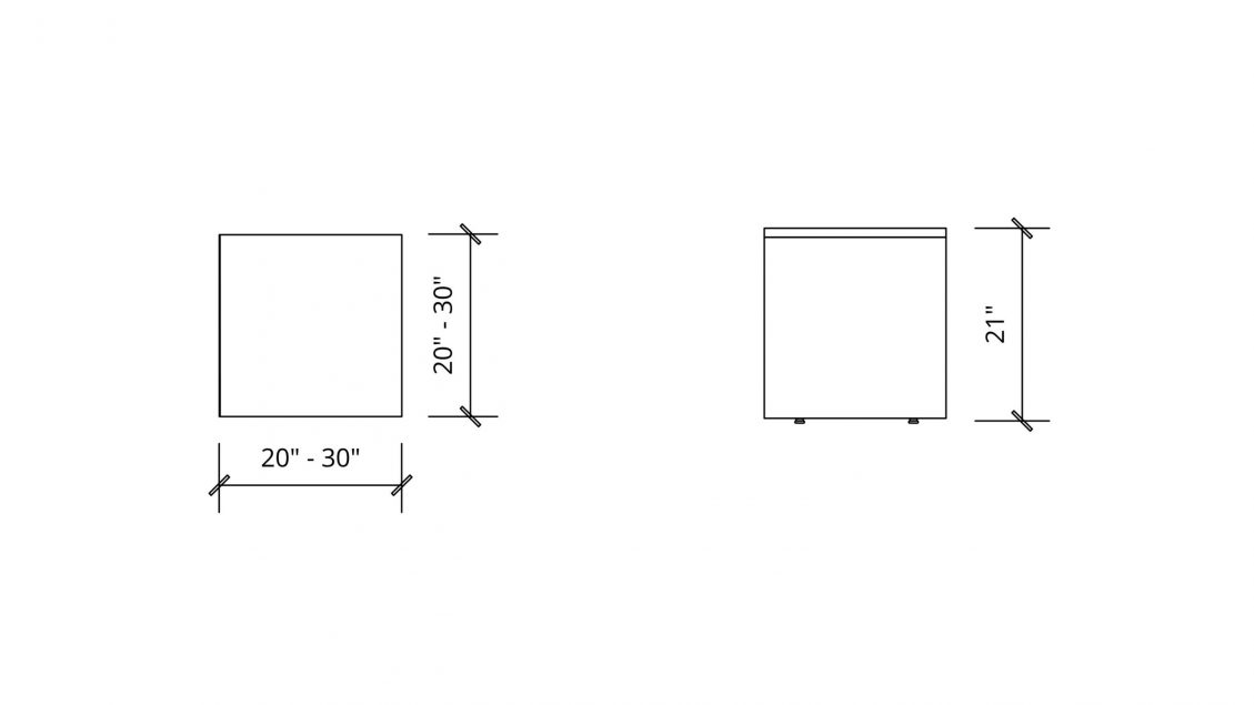 Imperial Dimensions of Square Coffee table 1654