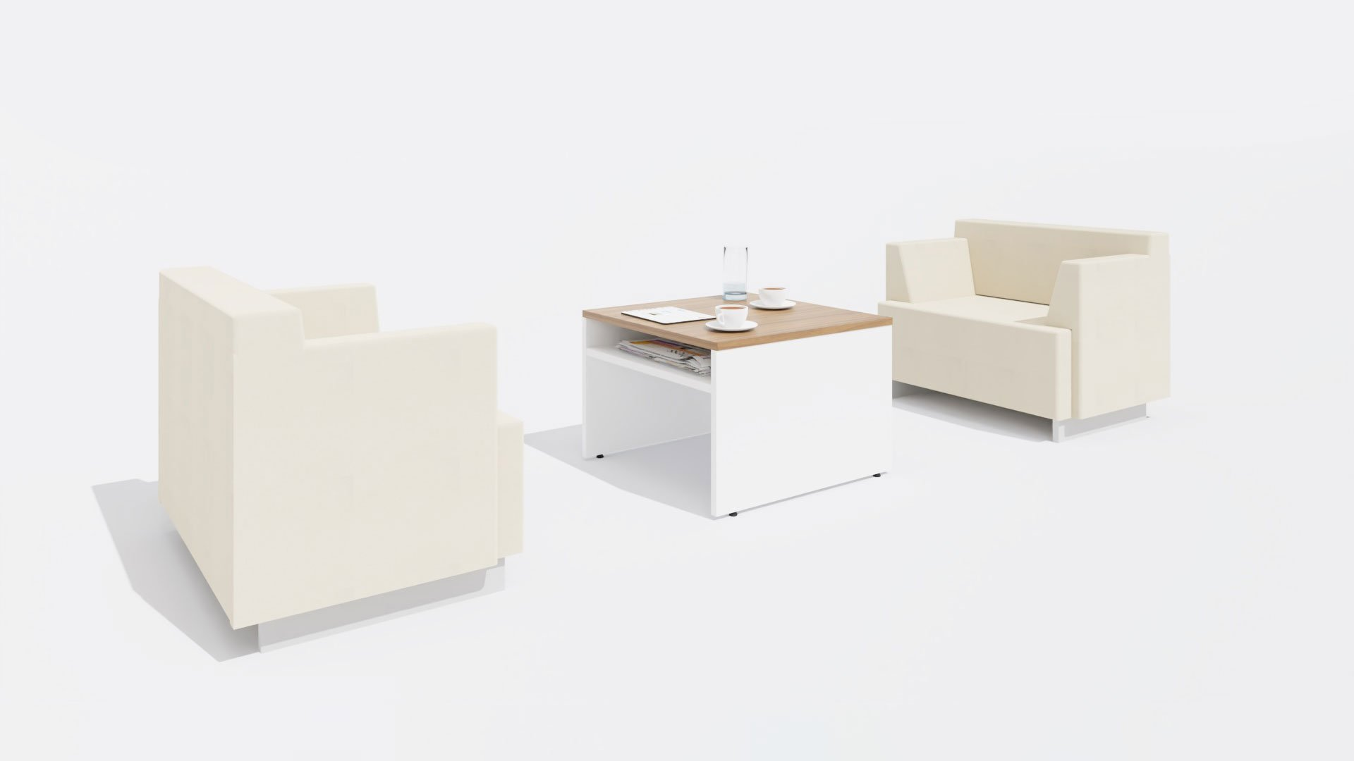 Square Coffee table 1654 in two colours with Chairs