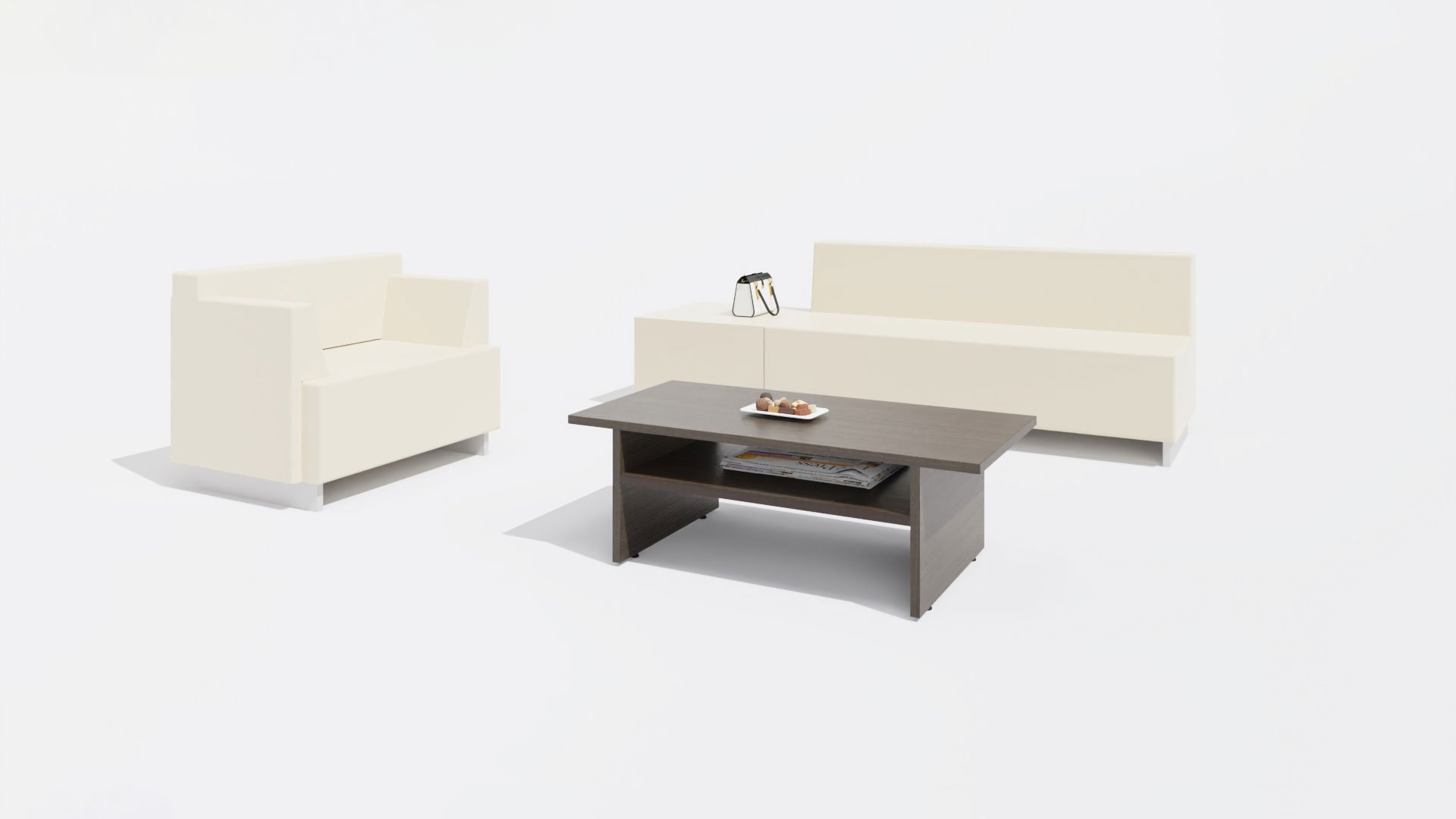 Rectangular Coffee Table 1655 with a Sofa and a Chair
