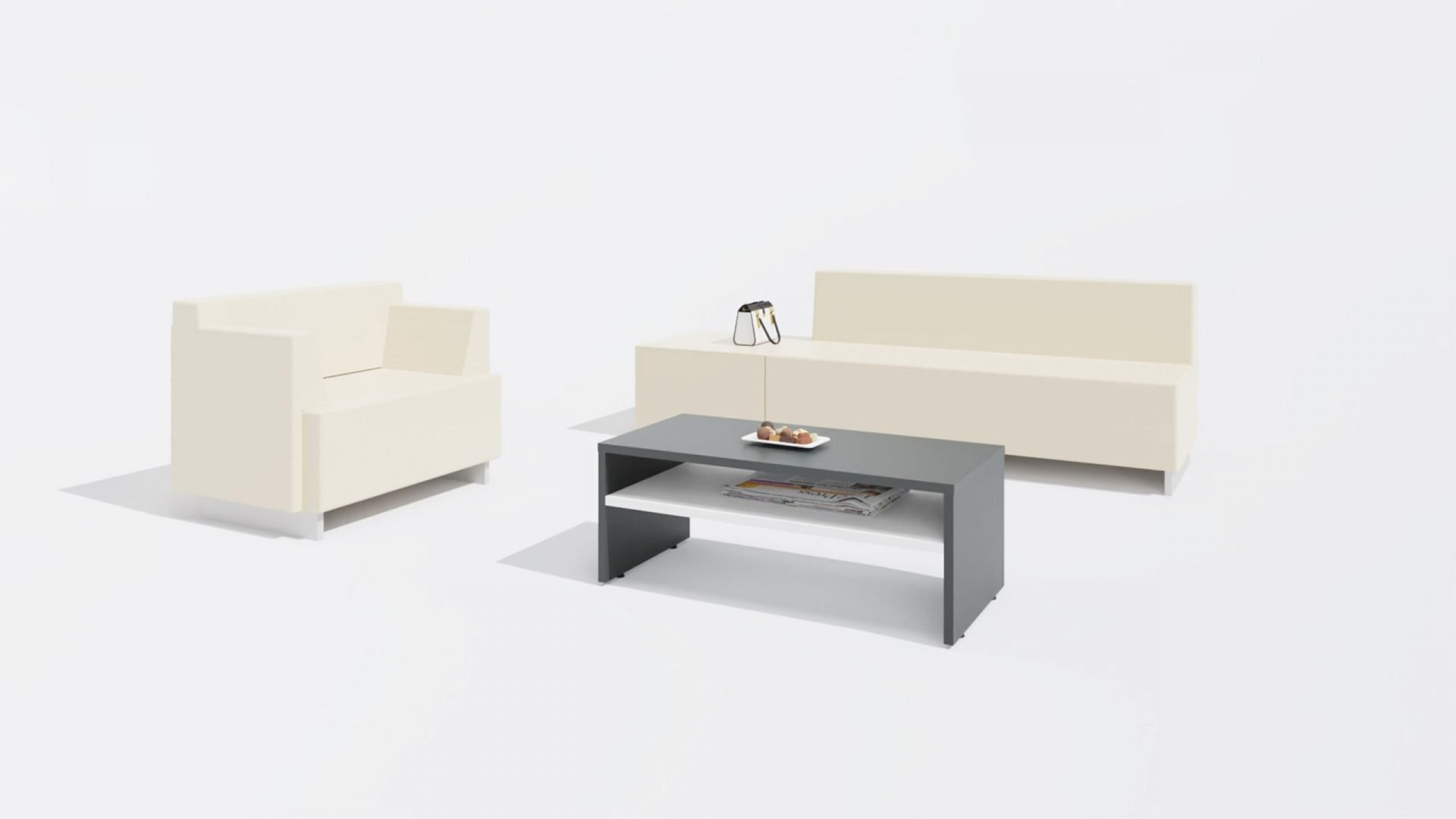 Rectangular Coffee Table 1656 with a Sofa and a Chair