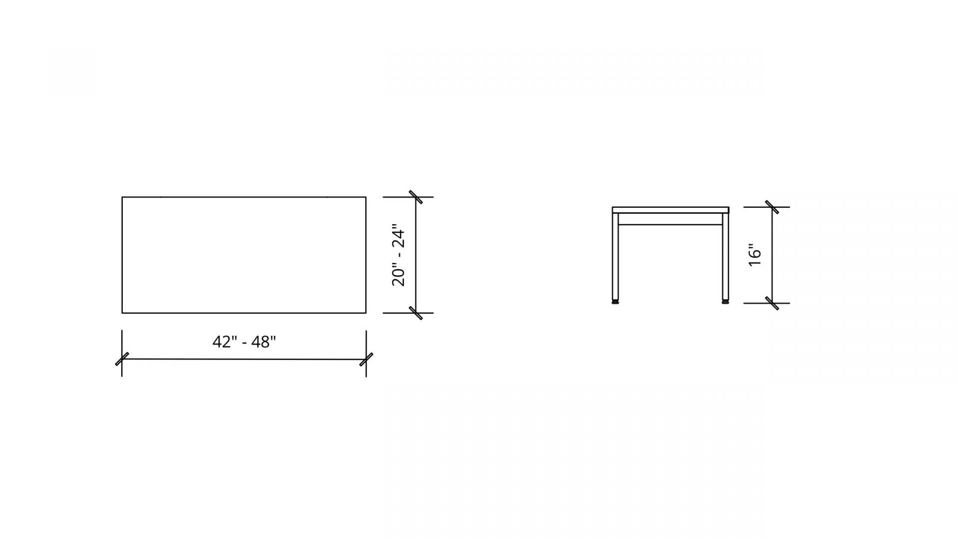 Imperial Dimensions of Rectangular Coffee Table 1659