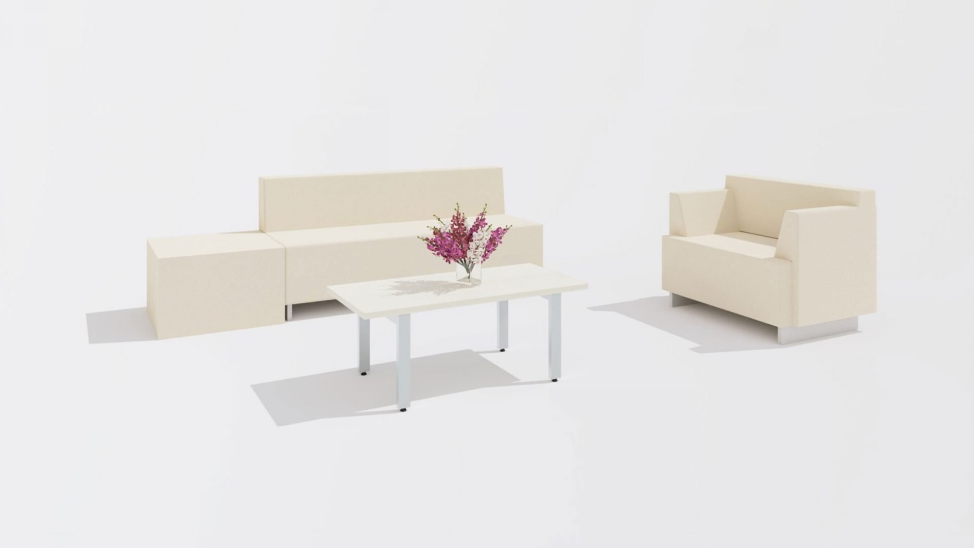 Rectangular Coffee Table 1659 with a Sofa and a Chair
