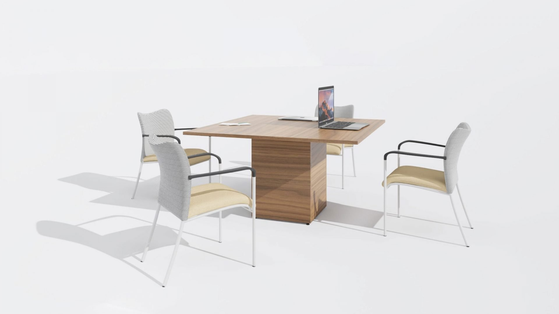 Square Meeting Table 1662 with three visitor chairs