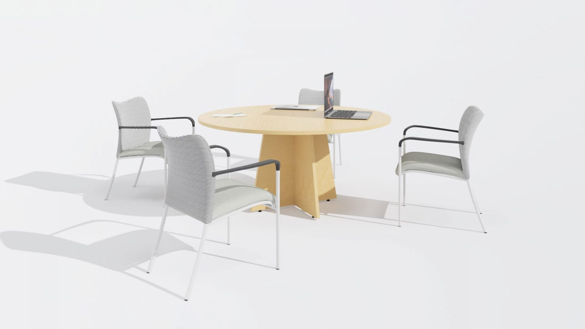 Round Meeting Table 1665 with three chairs
