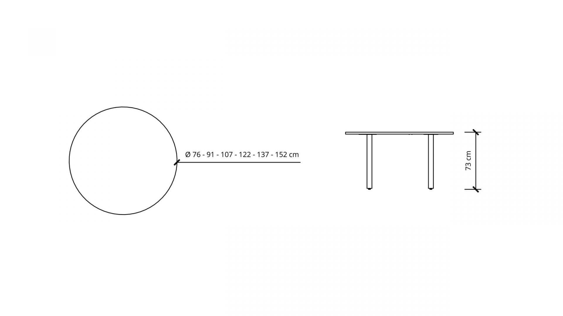 Dimensions of Round Meeting Table 1673