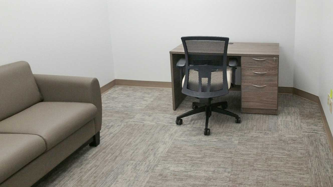 Desk with Mixed Storage, office chair, Sofa