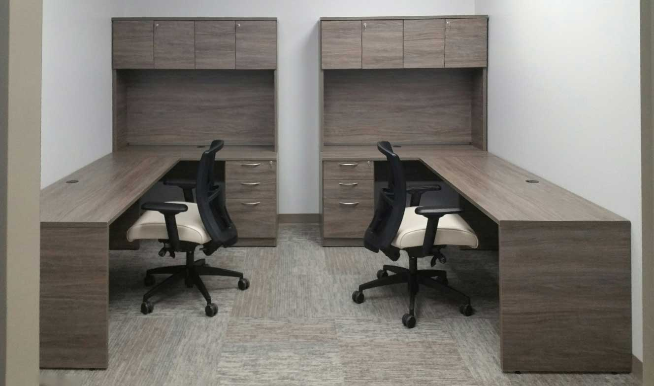 Hutch Desk with Mixed Storage and an office chair