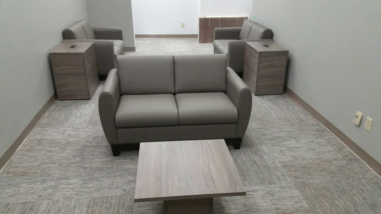 Sofa with a Coffee Table, Cabinets