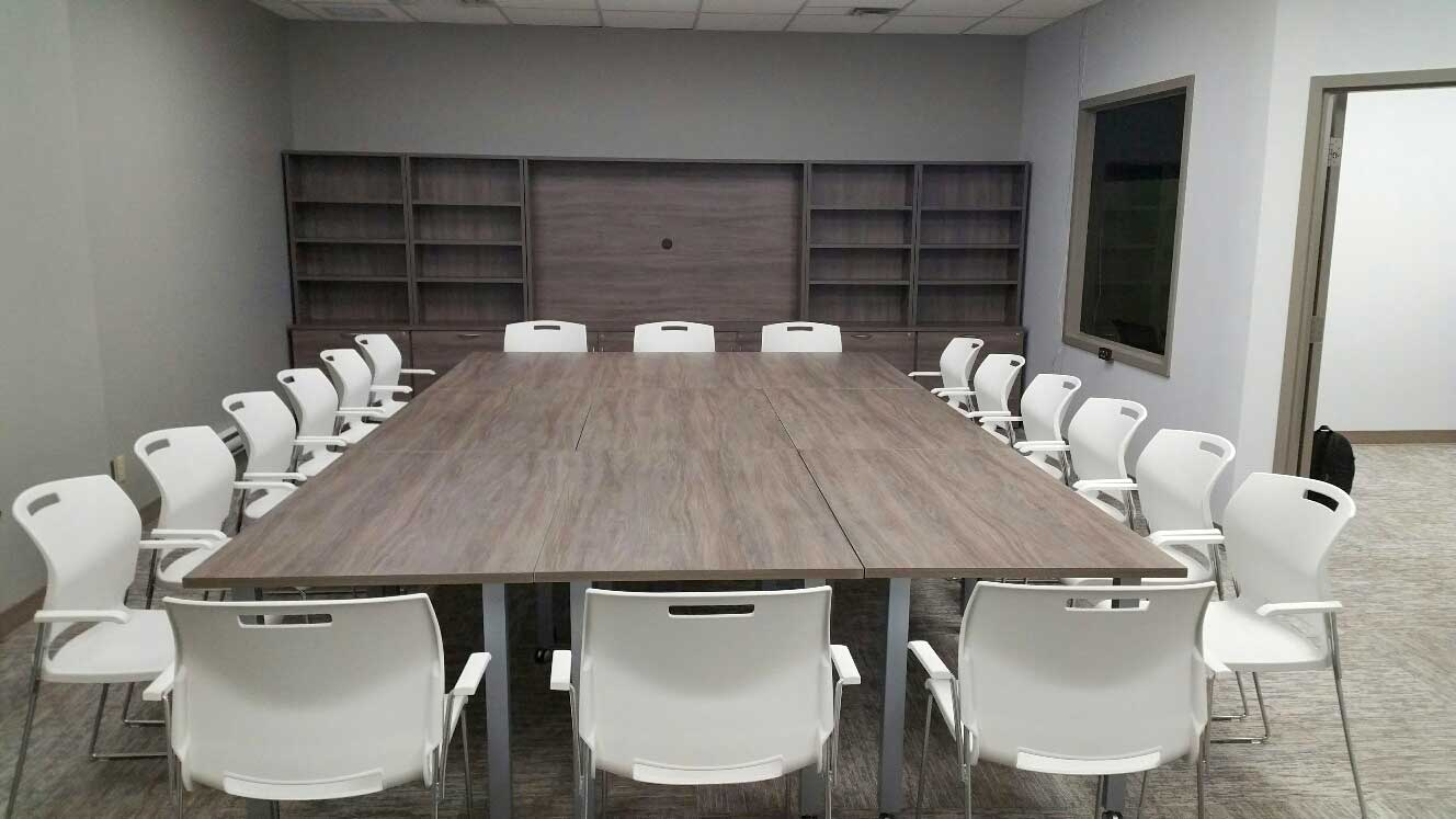 Modular Conference Tables with chairs, cabinet