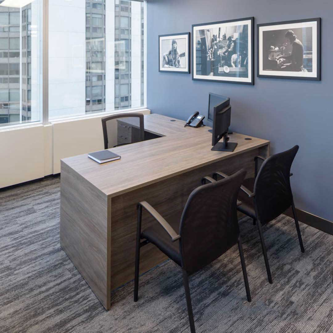 L-Desk with Mixed Storage, Office Chairm Visitor Chairs