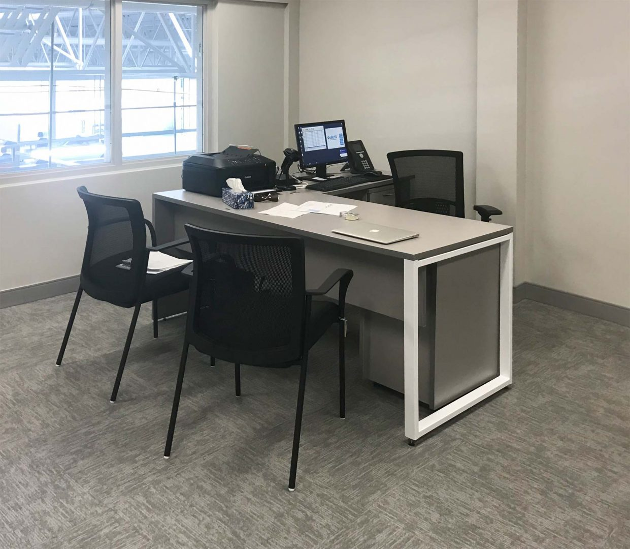 O-Leg Desk with Mixed Storage, Office Chair, Visitor Chair