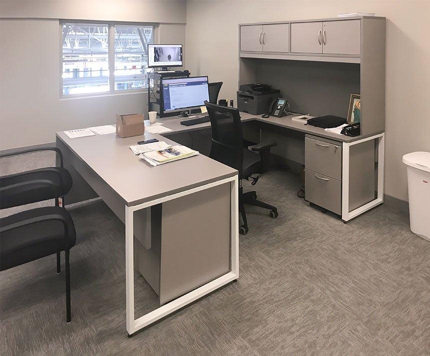 U-Shaped Desk with Hutch, O-Leg Base, Mixed Storage
