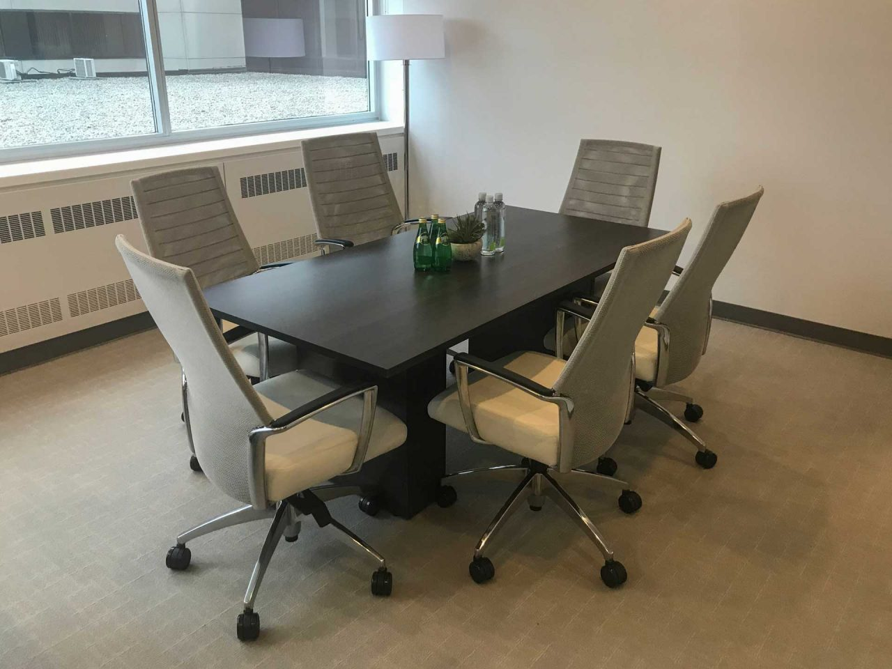 Square Meeting Table with Cube Base, Conference Chairs