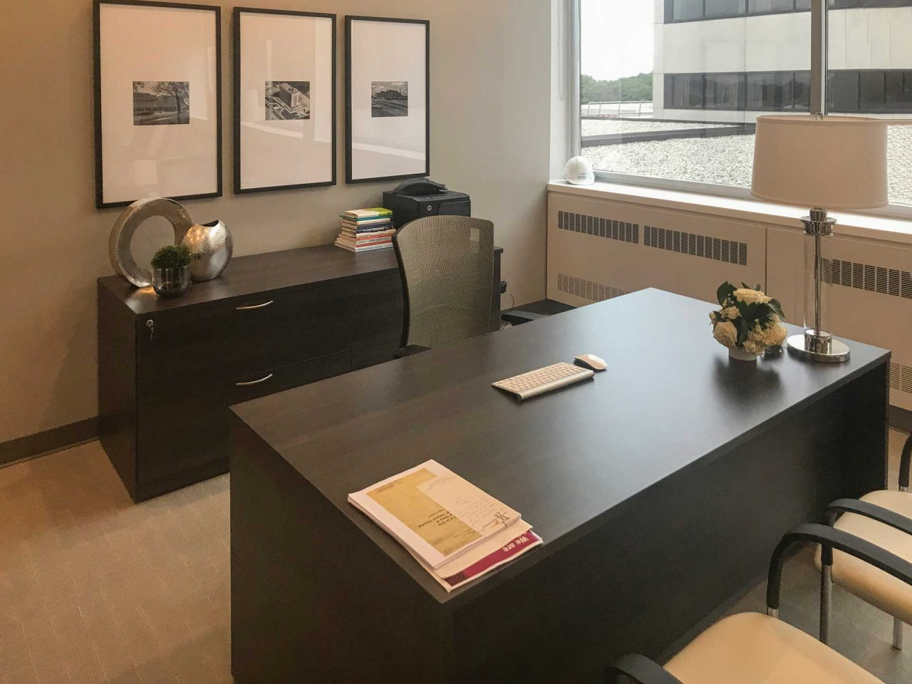 Laminate Desk with Mixed Storage and separated cabinet, office chair