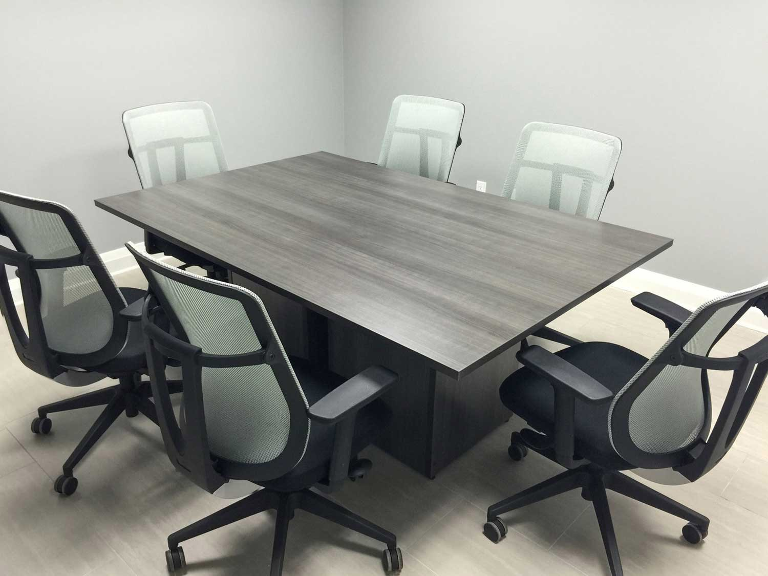 Square Meeting Table with Cube Base, chairs