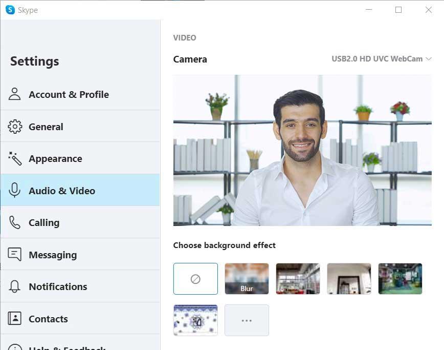 Skype camera settings