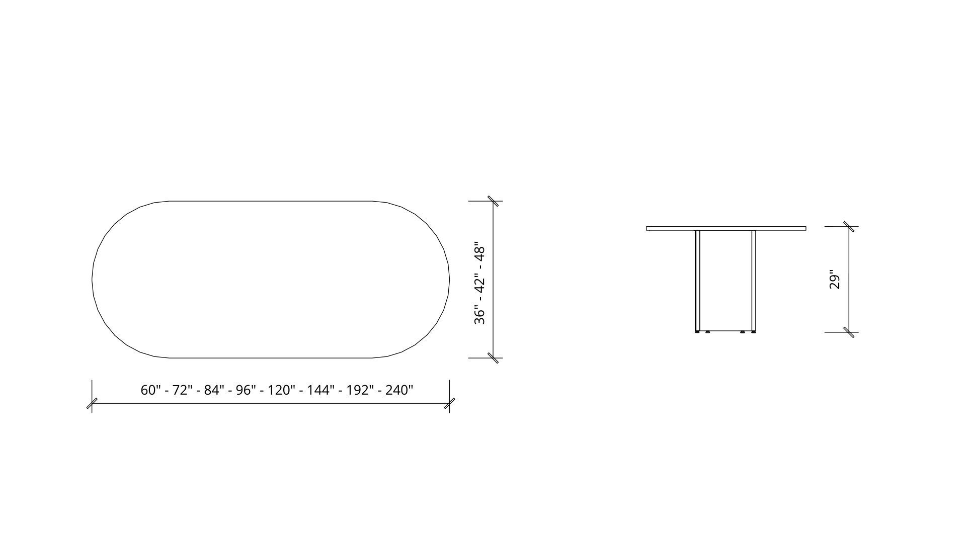 Imperial Dimensions of Rectangular Boardroom Table 1384