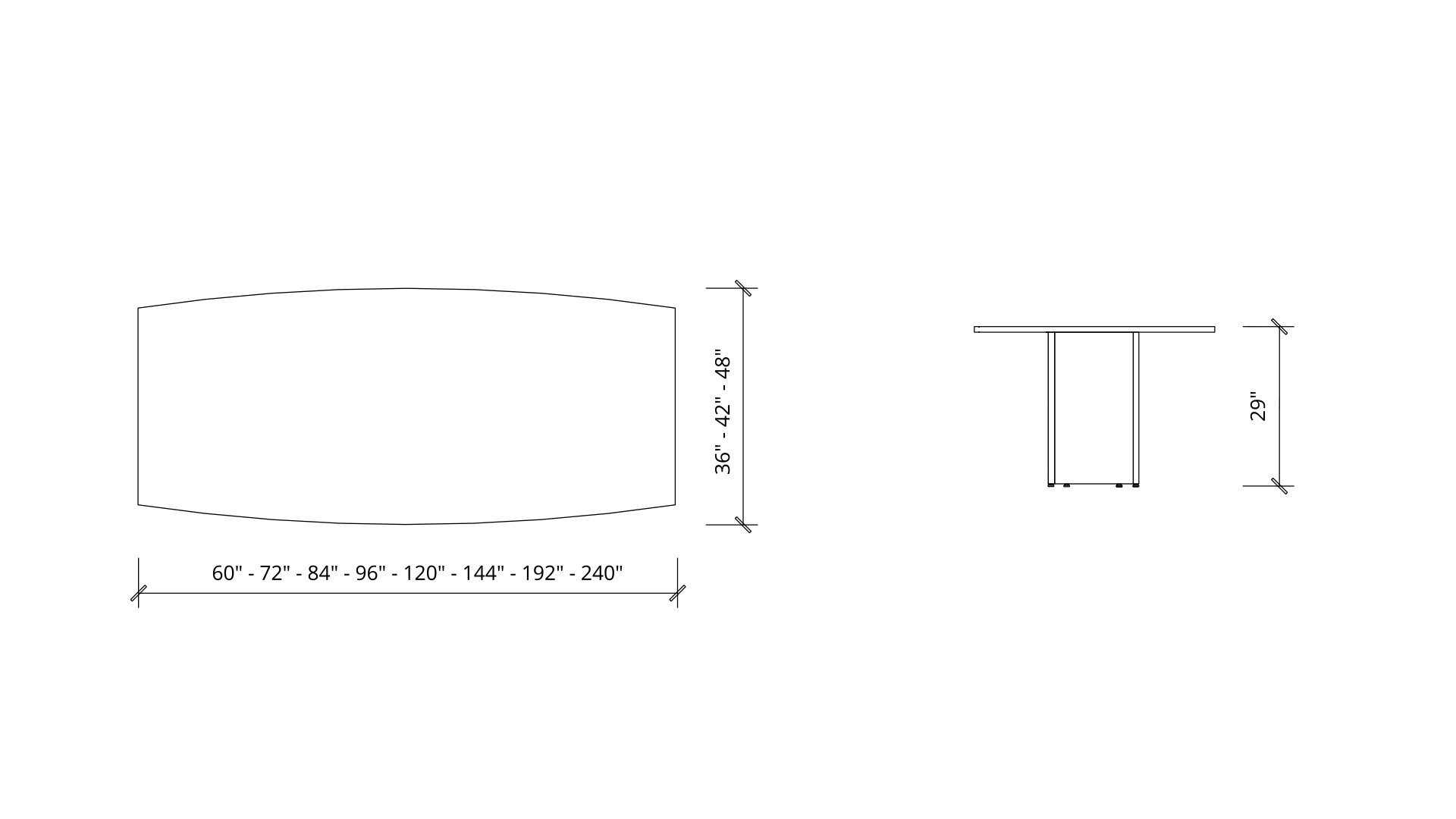Imperial dimensions of Boat Boardroom Table 1385