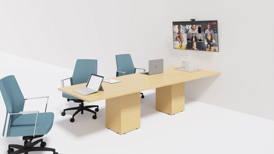 Trapezoid Boardroom Table 1387 with chairs