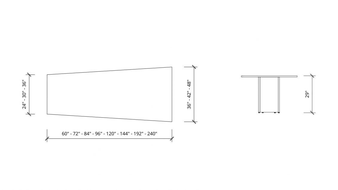 Imperial dimensions of Trapezoid Boardroom Table 1387