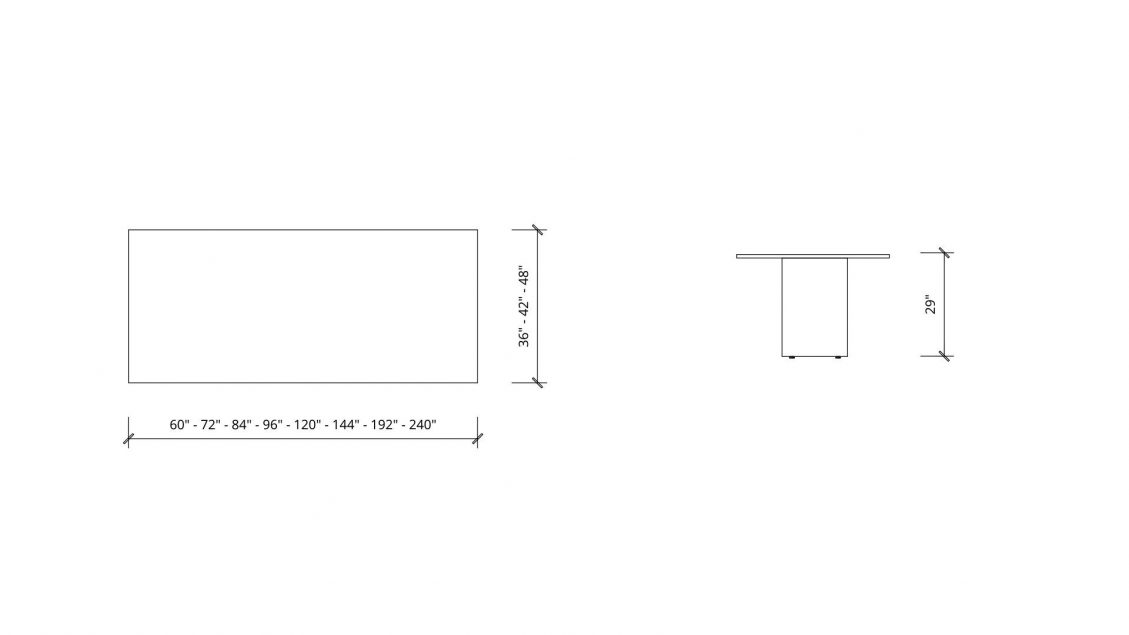 Imperial dimensions of Rectangular Boardroom Table 1388