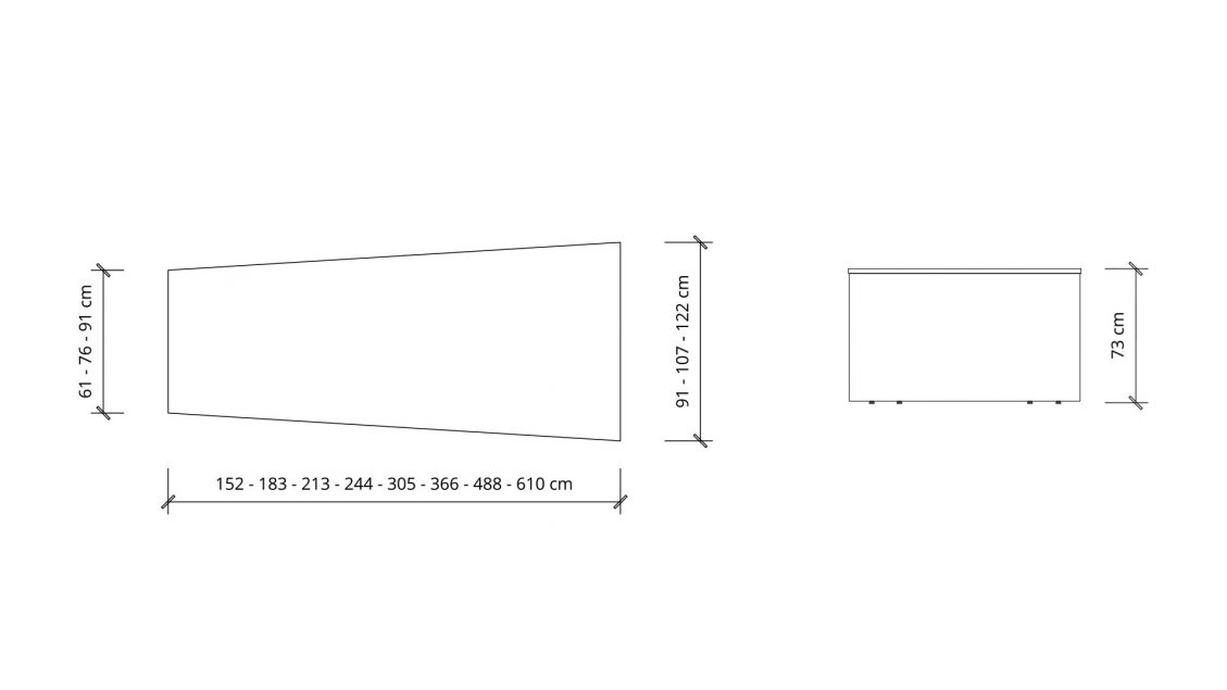 Dimensions of Trapezoid Boardroom Table 1392