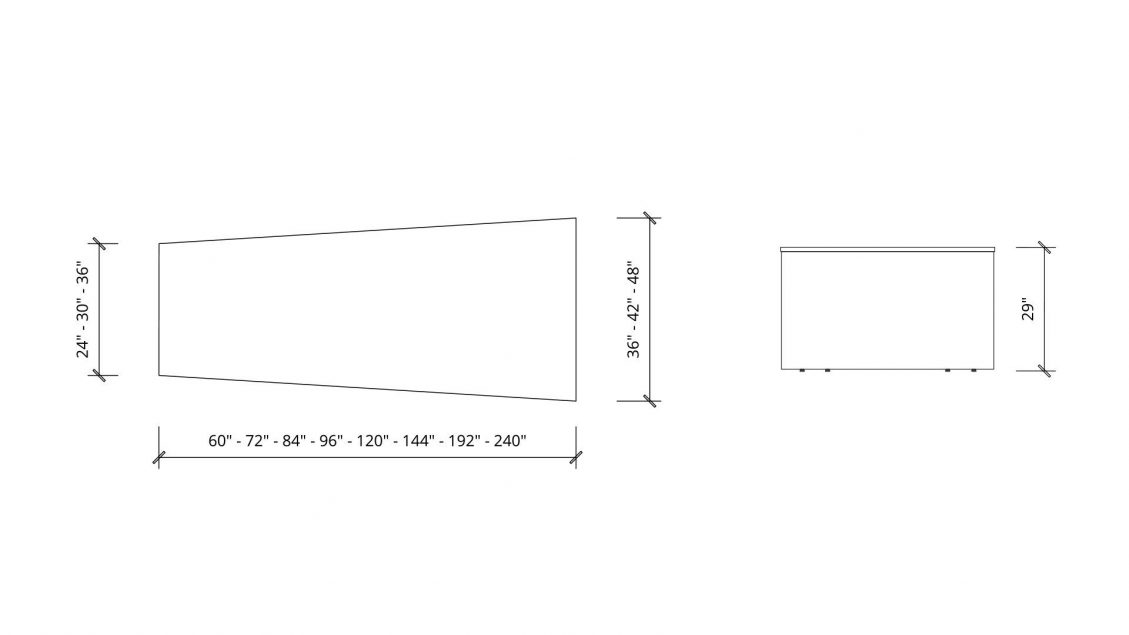 Imperial dimensions of Trapezoid Boardroom Table 1392
