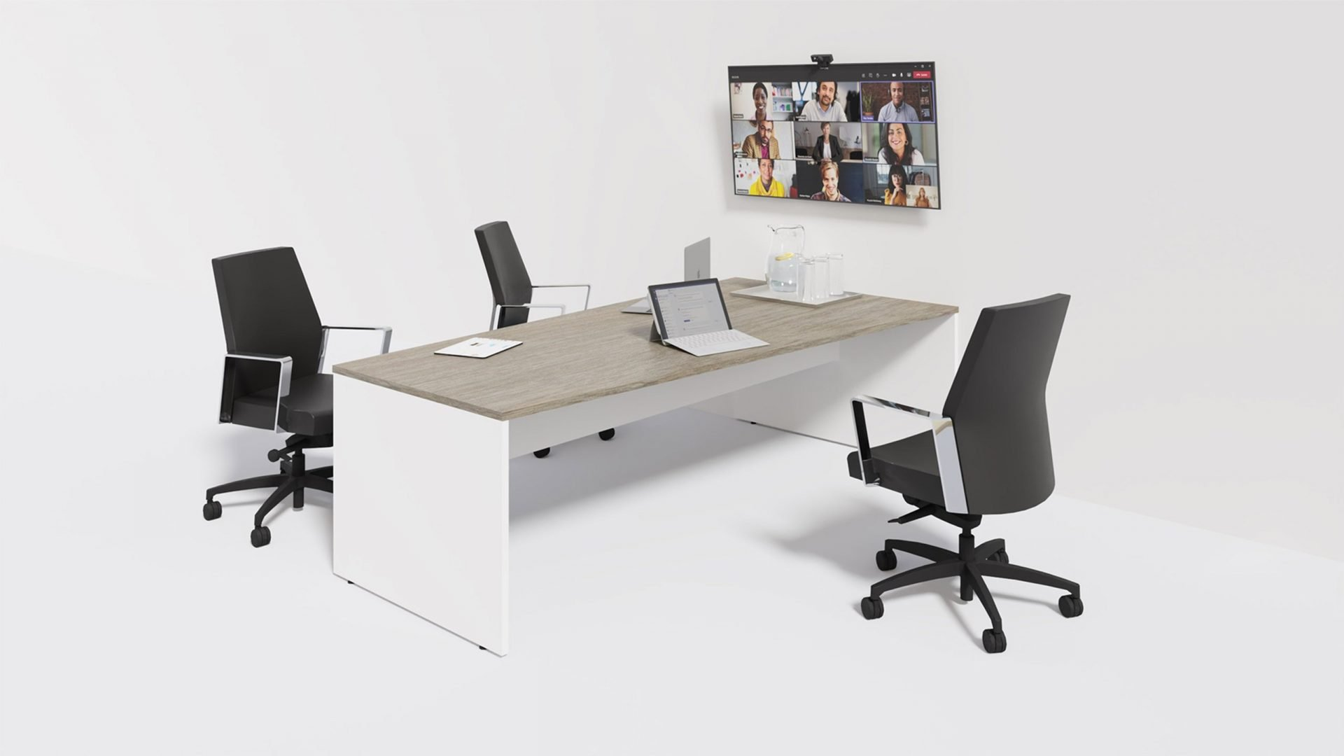 Trapezoid Boardroom Table 1392 in the scene with chairs