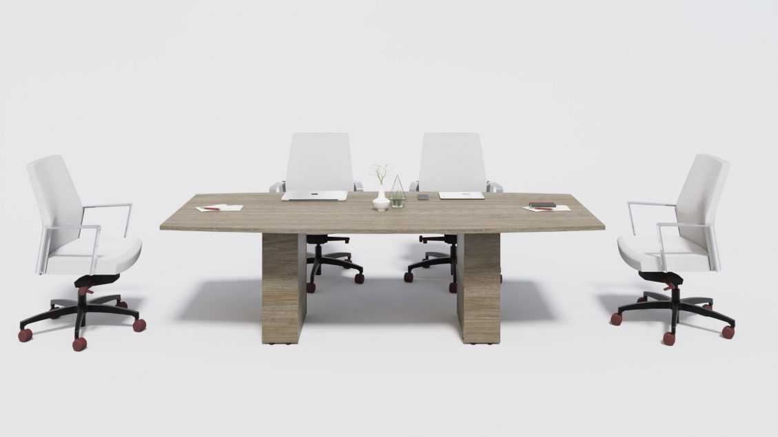 Boat Boardroom Table 1400 with work tools and chairs around
